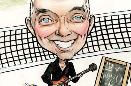 Caricature of man with guitar