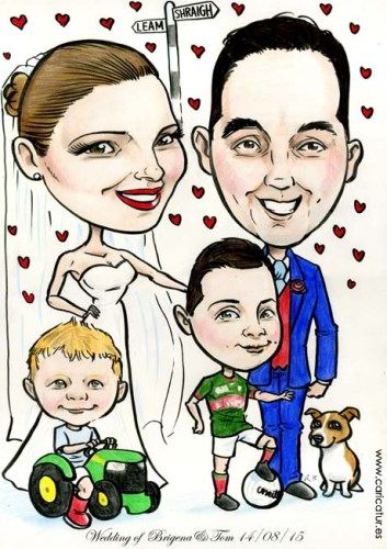 Wedding caricature for a signing board by Allan Cavanagh Caricatures Ireland