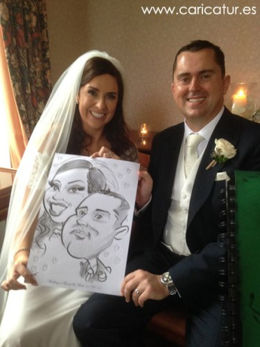 Bride and groom caricature by Allan Cavanagh