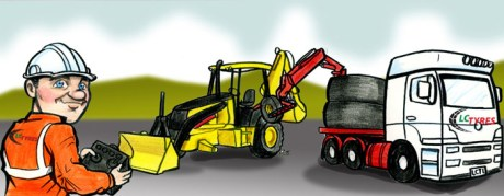 Cartoon artwork of tyre changing machine