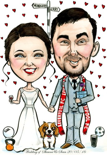 Caricature of married couple with hobbies, road sign and pet dog