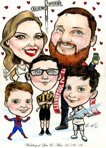 Wedding signing board cartoon with Spiderman, Jedi, and Kilkenny hurling strip