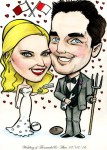 Caricature of newly married couple by Allan Cavanagh Caricatures Ireland