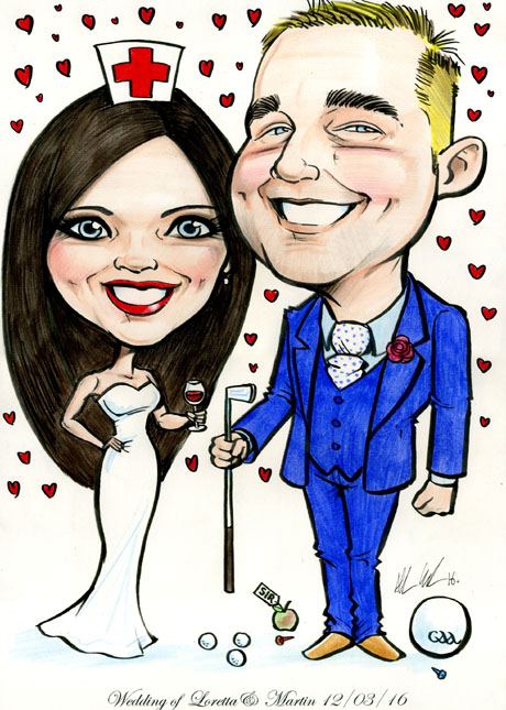 wedding-cartoon-bride-groom-nurse-teacher
