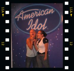 Sammie and friend doing American Idol at Madame Tussauds in NYC