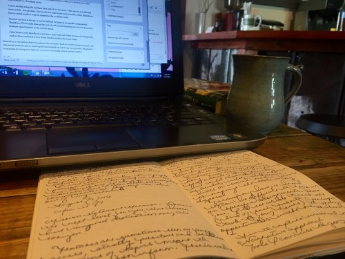 Yes, I still prefer to write by hand. I wrote this week's homework in my journal before typing it for this post.