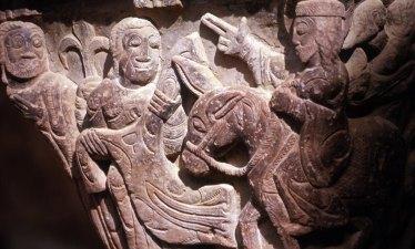 Capitel del Claustro del Monasterio de San Juan de la Peña. Jesús Entrando en Jerusalén