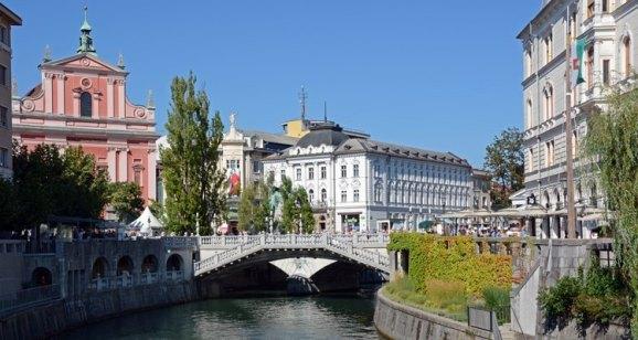 Liubliana. Tres Puentes y Plaza Preseren