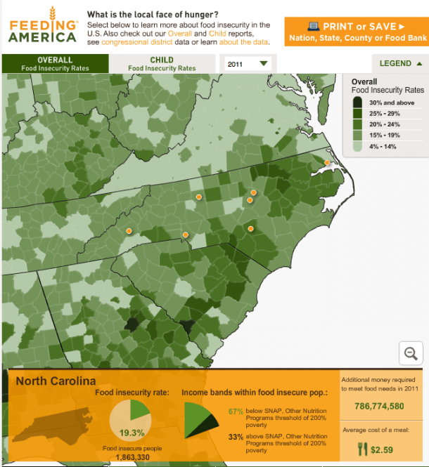 Click on the image to view county-by-county data on food insecurity, as analyzed by Feeding America.