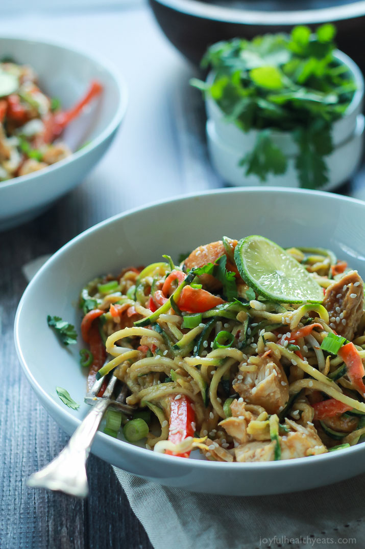 If you have as spiralizer, this is for you: Zucchini and carrot noodles plus other veggies and chicken in a spicy peanut butter sauce