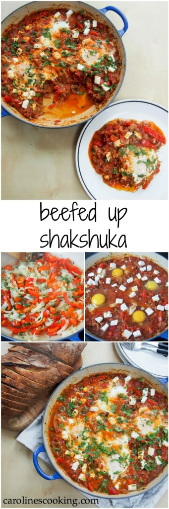 beefed-up shakshuka (shakshuka with meat) - a delicious, hearty dish with a tomato, pepper and onion base, lots of herbs and topped with eggs and feta. Makes a delicious brunch/lunch or enjoy it for 'brinner'!