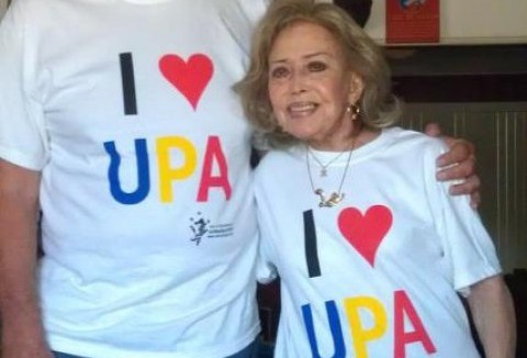 Tee Bosustow and June Foray wearing their I ♥ UPA AniMazeSpot 2012 T-Shirts