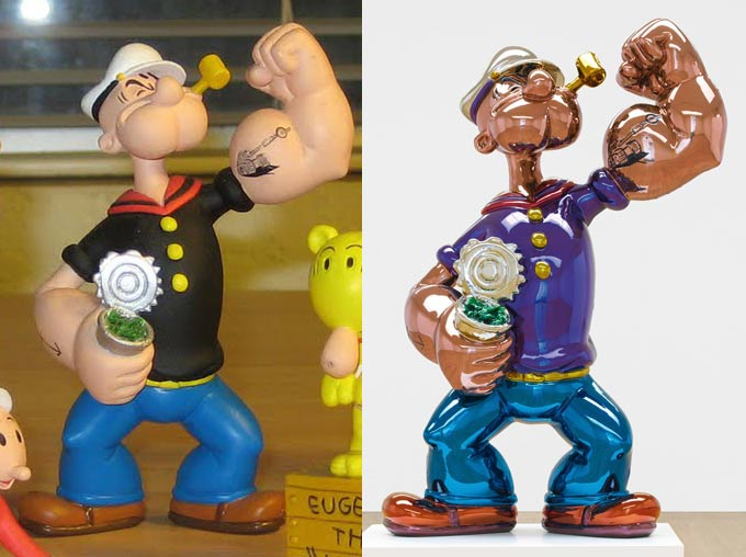 Left: Dark Horse Popeye Toy (photo via). Right: Popeye sculpture by Jeff Koons
