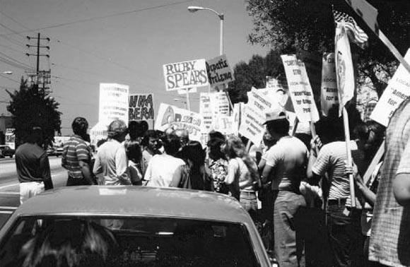 """Pickets in front of Hanna-Barbera during the 1982 strike. Photo by Jim Brummett, published in Tom Sito's """"Drawing the Line: The Untold Story of the Animation Unions from Bosko to Bart Simpson."""""""