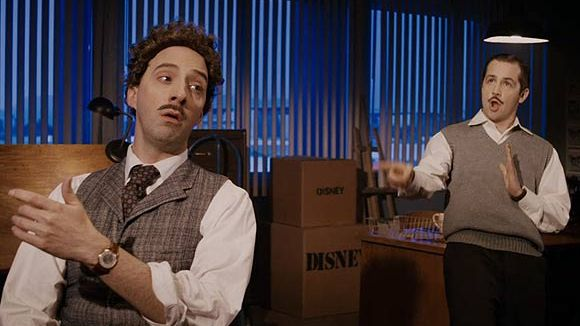 "Tony Hale as Ub Iwerks (l.) and Michael Angarano as Walt Disney in ""Drunk History."""