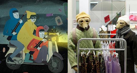"Paul Cabon's ""Storm Hits Jacket"" (left) and Niki Lindroth von Bahr's ""Bath House."""