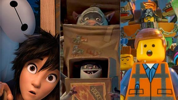 "From left to right: ""Big Hero 6,"" ""The Boxtrolls,"" ""The LEGO Movie."""