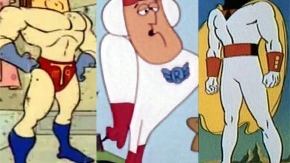 (Left to right) Three of Gary Owens's most famous voices: Powdered Toastman, Roger Ramjet, Space Ghost.