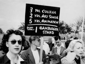 Animators fight for their rights during the 1941 Disney strike. This week's negotiations with the studios went a lot more smoothly.