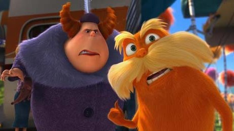 Aunt Grizelda (ELMARIE WENDEL) is annoyed by the Lorax (DANNY DE
