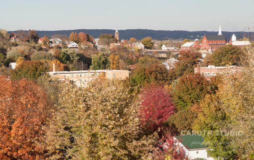 Overview of Hermann Missouri from the winery with fall colors