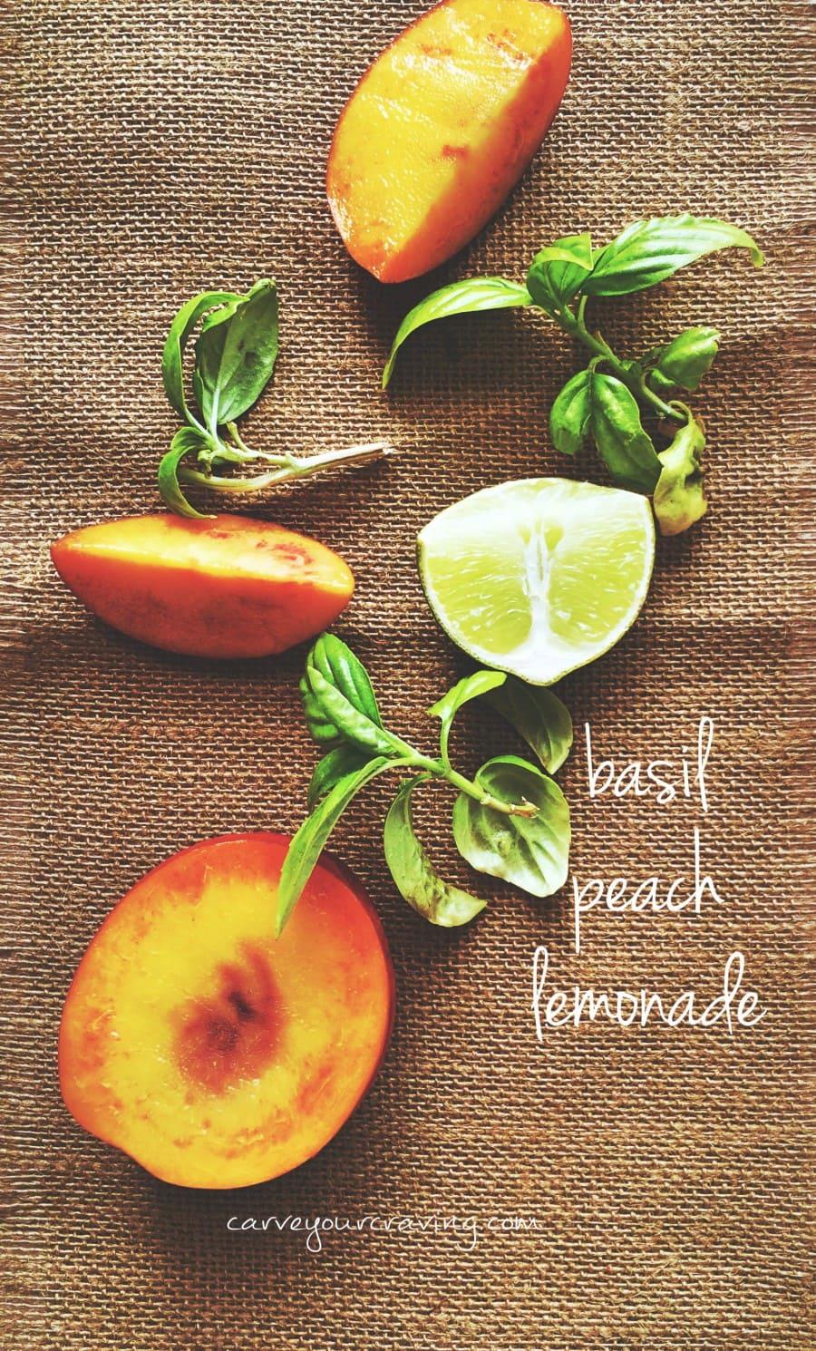 peaches and basil on hand so made basil peach lemonade