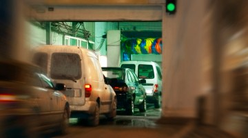 Carwash, tunnel, equipment, line, line of cars, traffic, conveyor