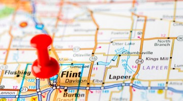 map, pin point, Flint, Michigan