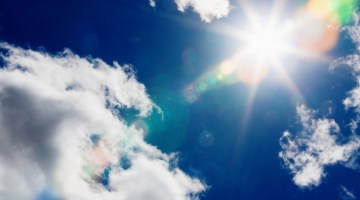 Blue sky, skies, sun, sunny, warm weather, sunlight, temperatures, heat, clouds, sun
