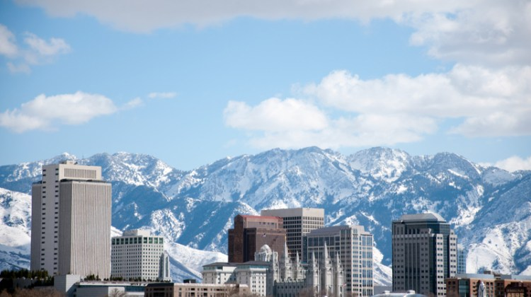 Salt Lake City, Utah, skyline, mountains, city, urban, winter.