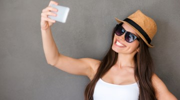 Selfie, girl, hat, smiling, glasses, sunglasses, woman, studio.