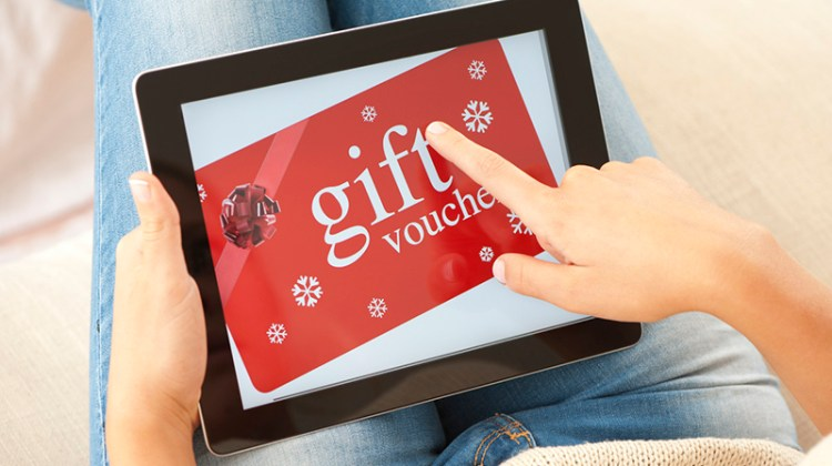 last minute holiday advertising, holiday advertising, gift card, digital advertising, tablet, buying a gift card, online buying