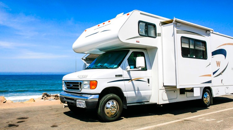 RV, beach, road, recreational vehicle