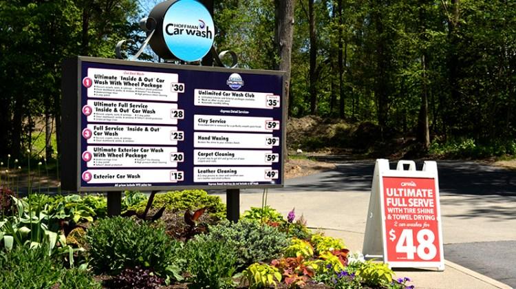carwash menu, signage, pricing, wash packages
