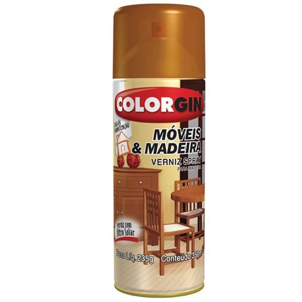 Verniz Spray Colorgin Móveis e Madeira – Imbuia Brilhante 350ml
