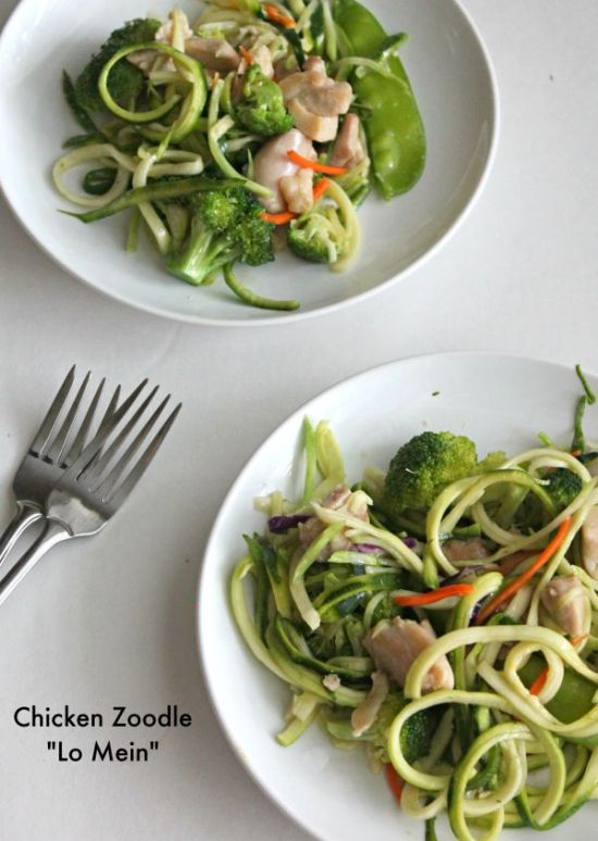 Chicken Zoodle Lo Mein  for #SundaySupper- lightened up Chinese food with zucchini noodles