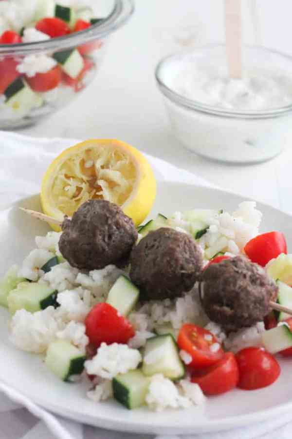 Gyro Meatballs with Lemon Rice | casadecrews.com