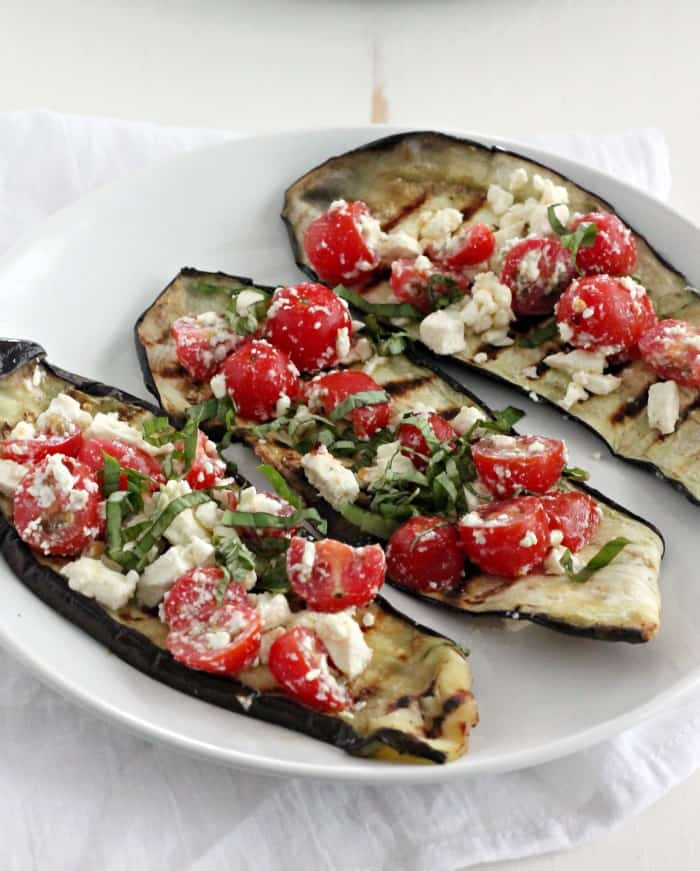 Grilled Eggplant with Tomatoes, Feta, and Basil