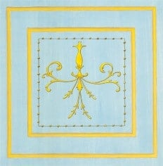 Casart Panel Grotesca Scroll Blue/ Muted Yellow_Architectural Insert 6x Panel Scroll Blue/Yellow Gold_Architectural Insert 1