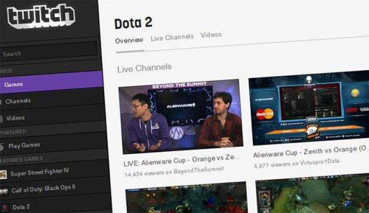 A Dota 2 live stream on Twitch