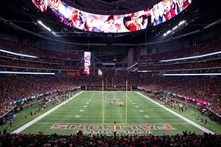 The Mercedes Benz Stadium, home of the NFL team Atlanta Falcons