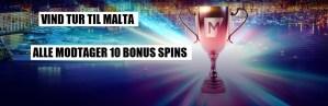 Specialtilbud: vind en tur til Malta – eksklusiv 10 spins bonus!