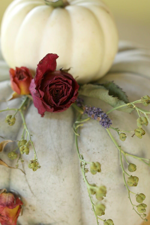 Dried floral tiered pumpkin centerpiece wedding cake