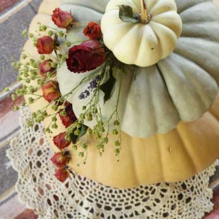 Dried Floral Tiered Pumpkin Centerpiece (Wedding Cake Inspired!)