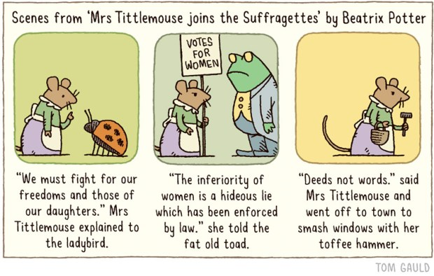 Mrs Tittlemouse joins the Suffragettes Tom Gauld