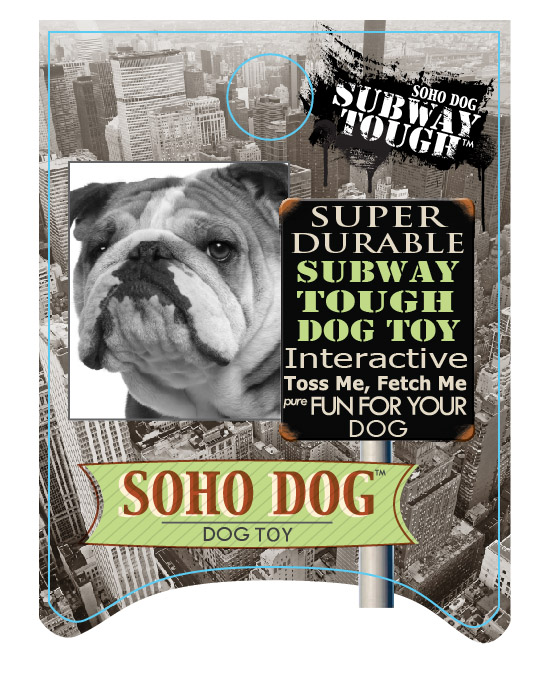 SOHO Dog Subway Tough hang tag for a dog toy to be displayed on a peg.