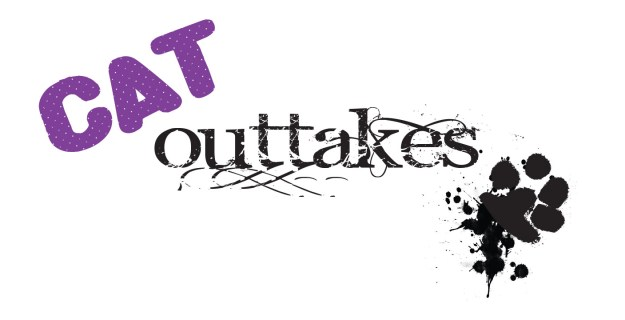 The logo for Cat Outtakes along with a paw print splat.