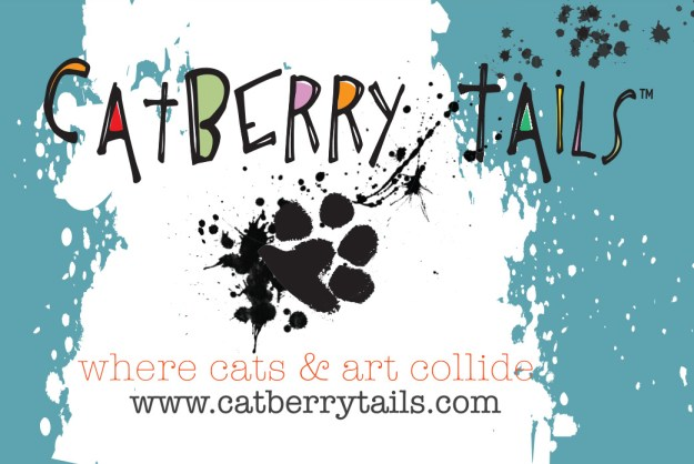 The front of the business cards for Catberry Tails. Very fun and colorful.