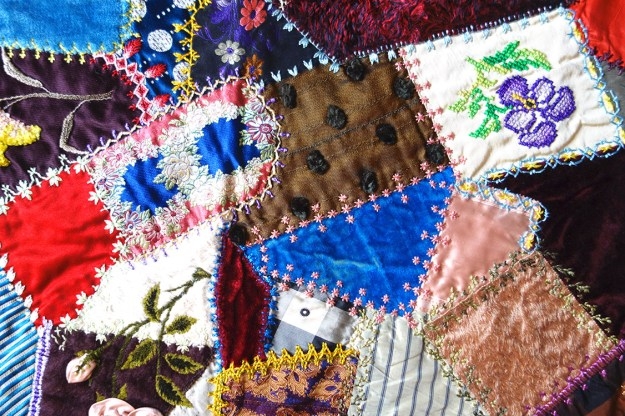 A beautiful detail shot of the patchwork quilt.