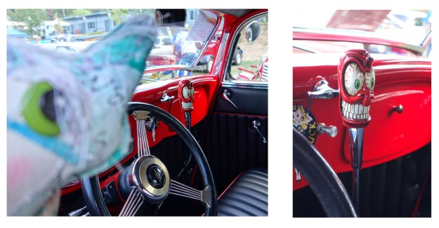 Two photos of a vintage pickup truck with an outrageous bloodshot eyeball and big teeth on the stick shift. Very cool!